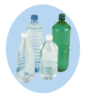 Water bottles made from PET plastic